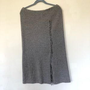 J.Jill Taupe Chunky Wool Blend Long Skirt Size MP